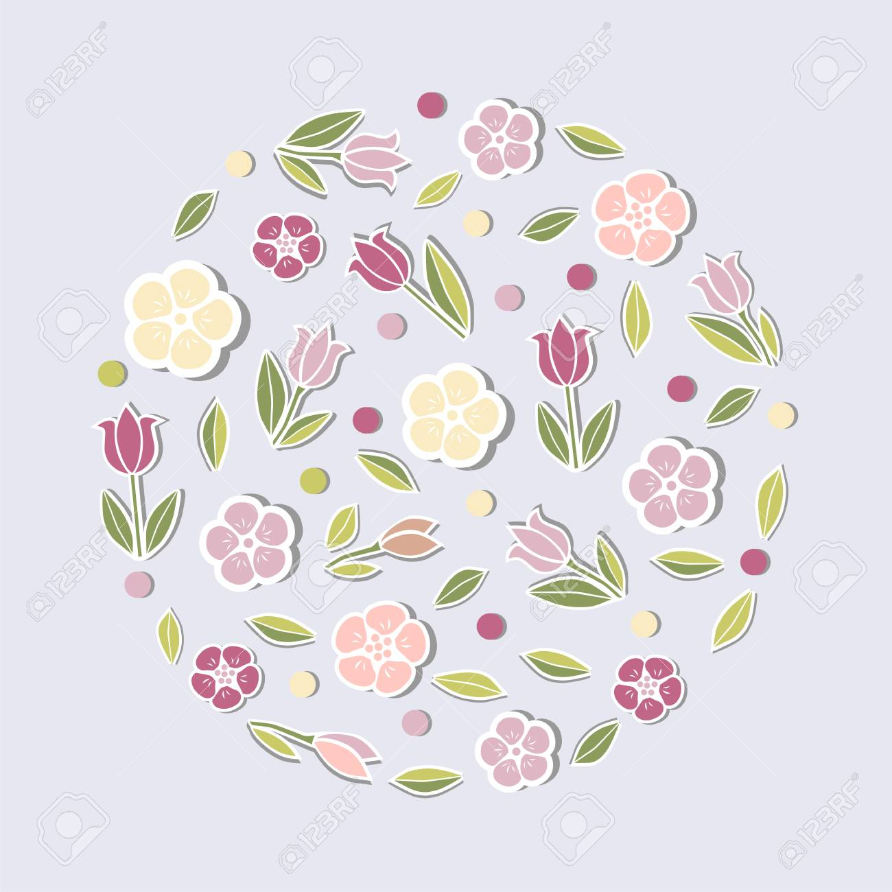 circle concept with pink flowers isolated on blue background