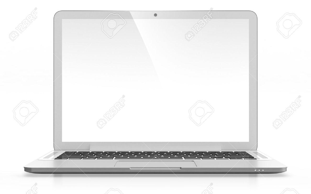 image 3d d un ordinateur portable moderne avec ecran blanc isole sur blanc