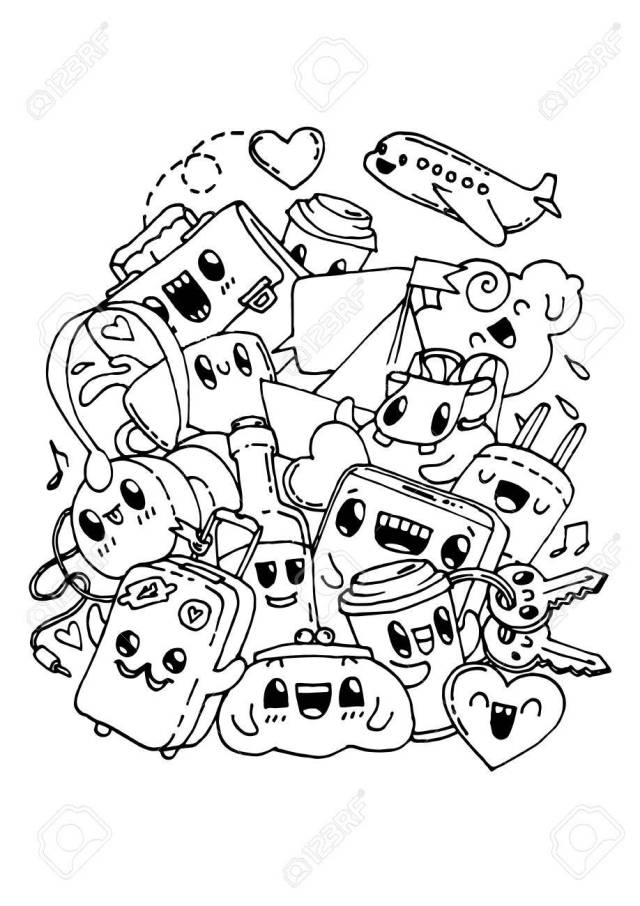 Travel Doodles. Coloring Pages For Kids. Royalty Free Cliparts