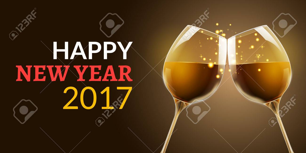 New Year Eve 2017  Holiday Illustration Of Two Wine Glasses     New Year eve 2017  Holiday illustration of two wine glasses  Drink luxury  celebration of