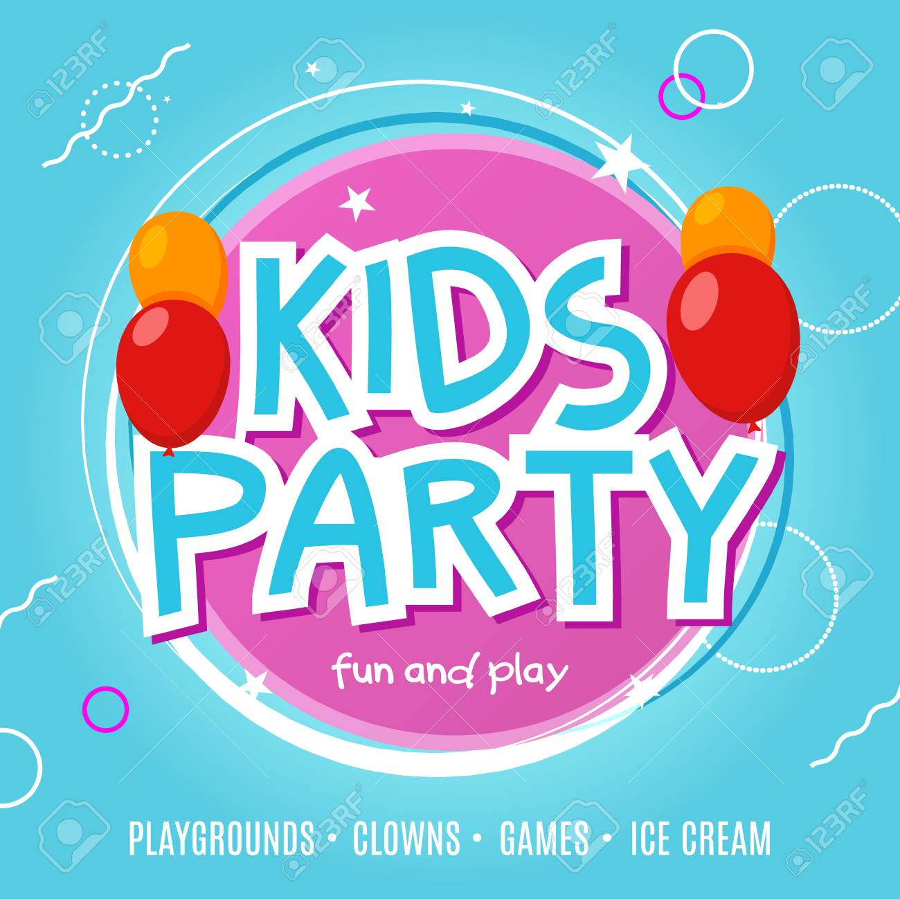 kids fun party celebration flyer design template child event