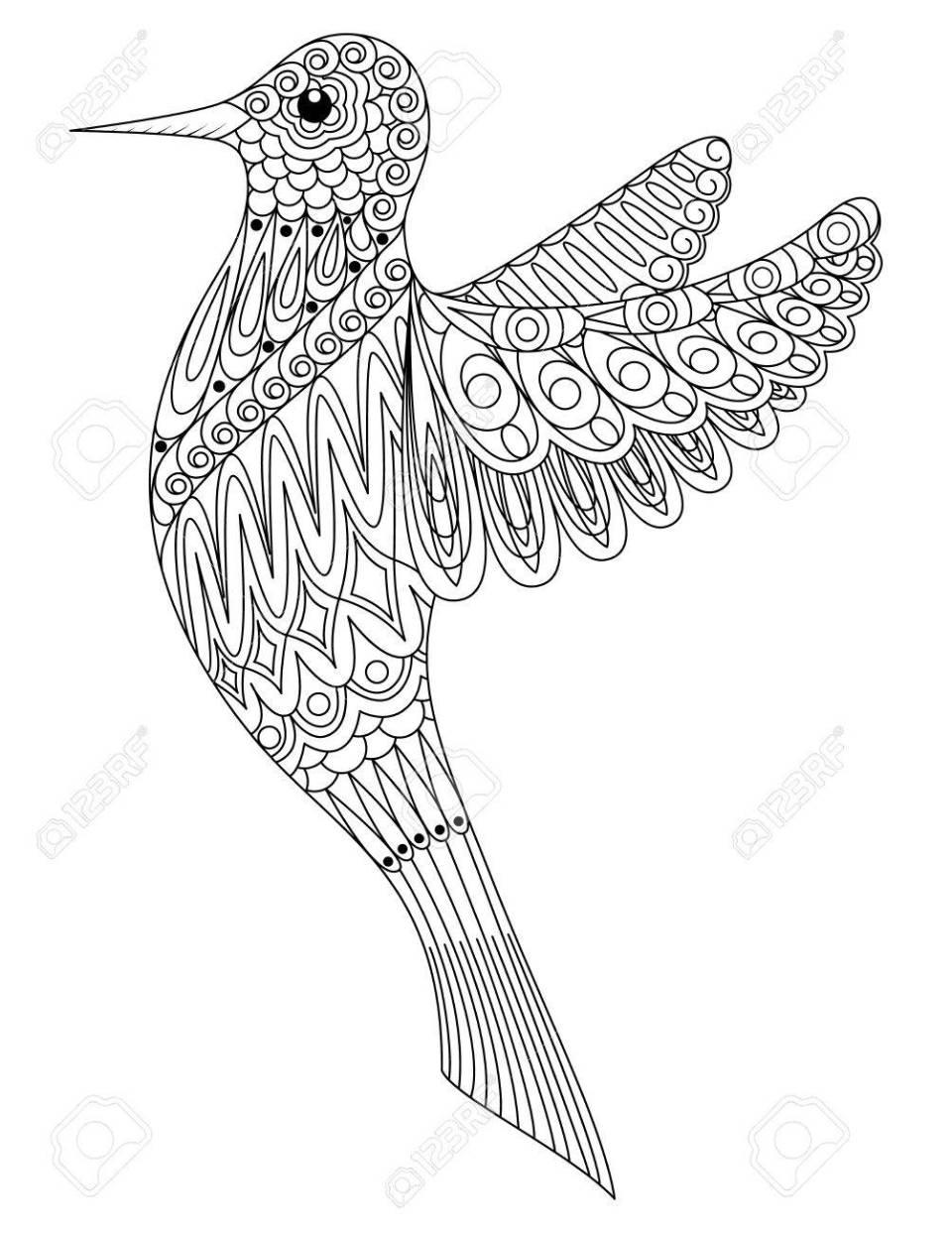 大人塗り絵鳥。のイラスト素材・ベクタ - image 82666617.