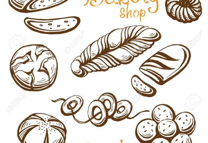 Bakery Vector Hand Drawn Set Illustration In Graphic Style Royalty