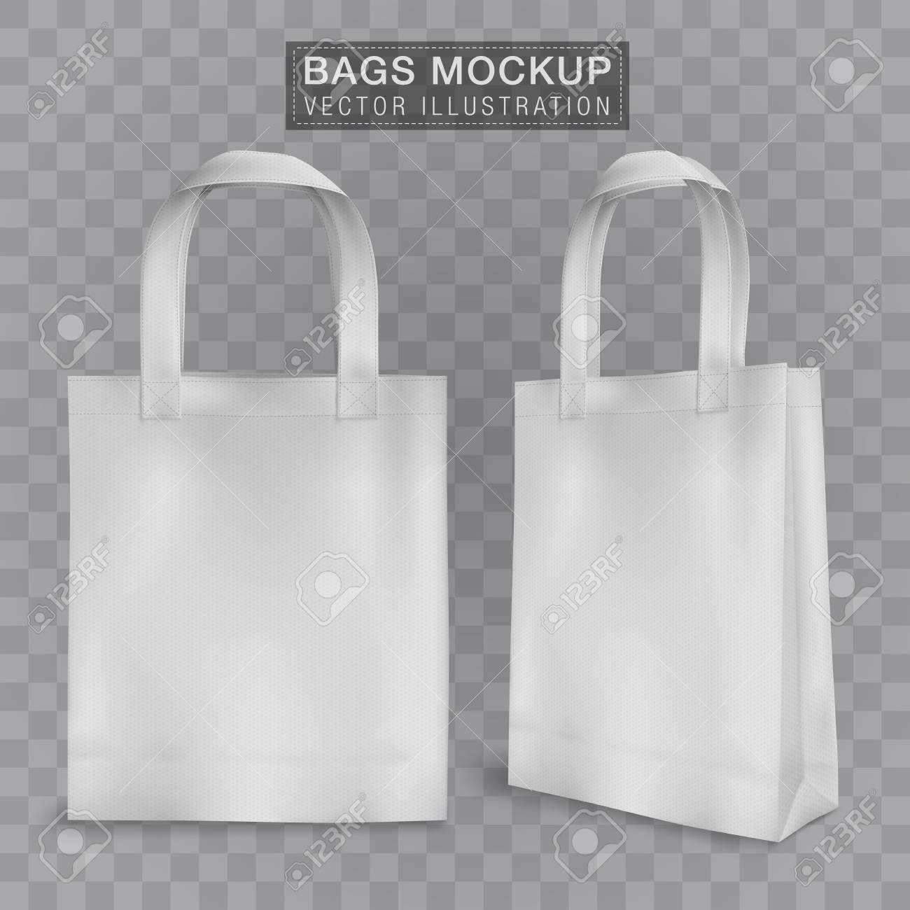Set of white shopping bags isolated on transparent background. Realistic Tote Shopping Bag Mock Up Template For Corporate Identity Isolated Vector Illustration On Transparent Background Royalty Free Cliparts Vectors And Stock Illustration Image 106706120