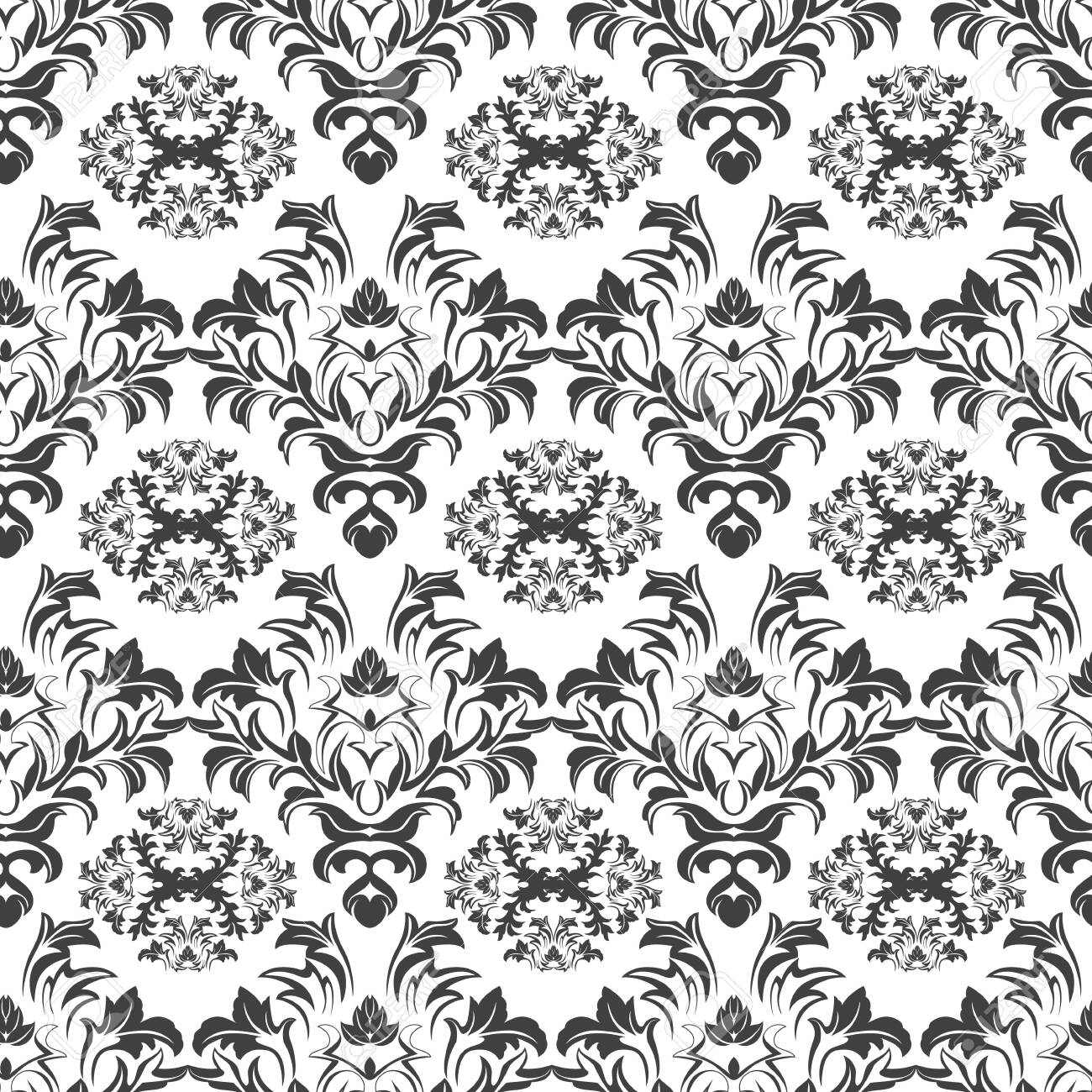 black seamless pattern on white background plants leaves and