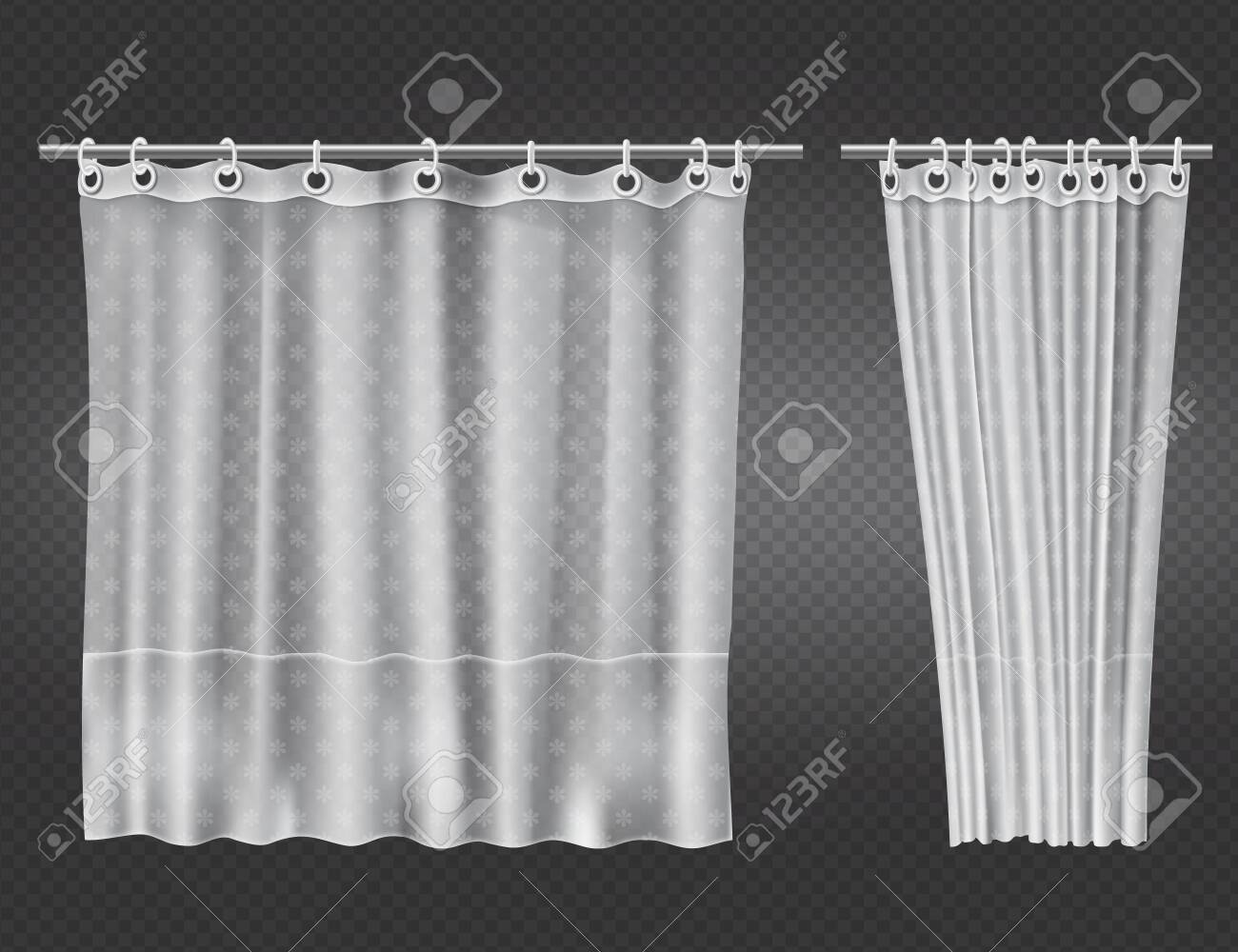 white clear shower curtains with flowers pattern isolated on