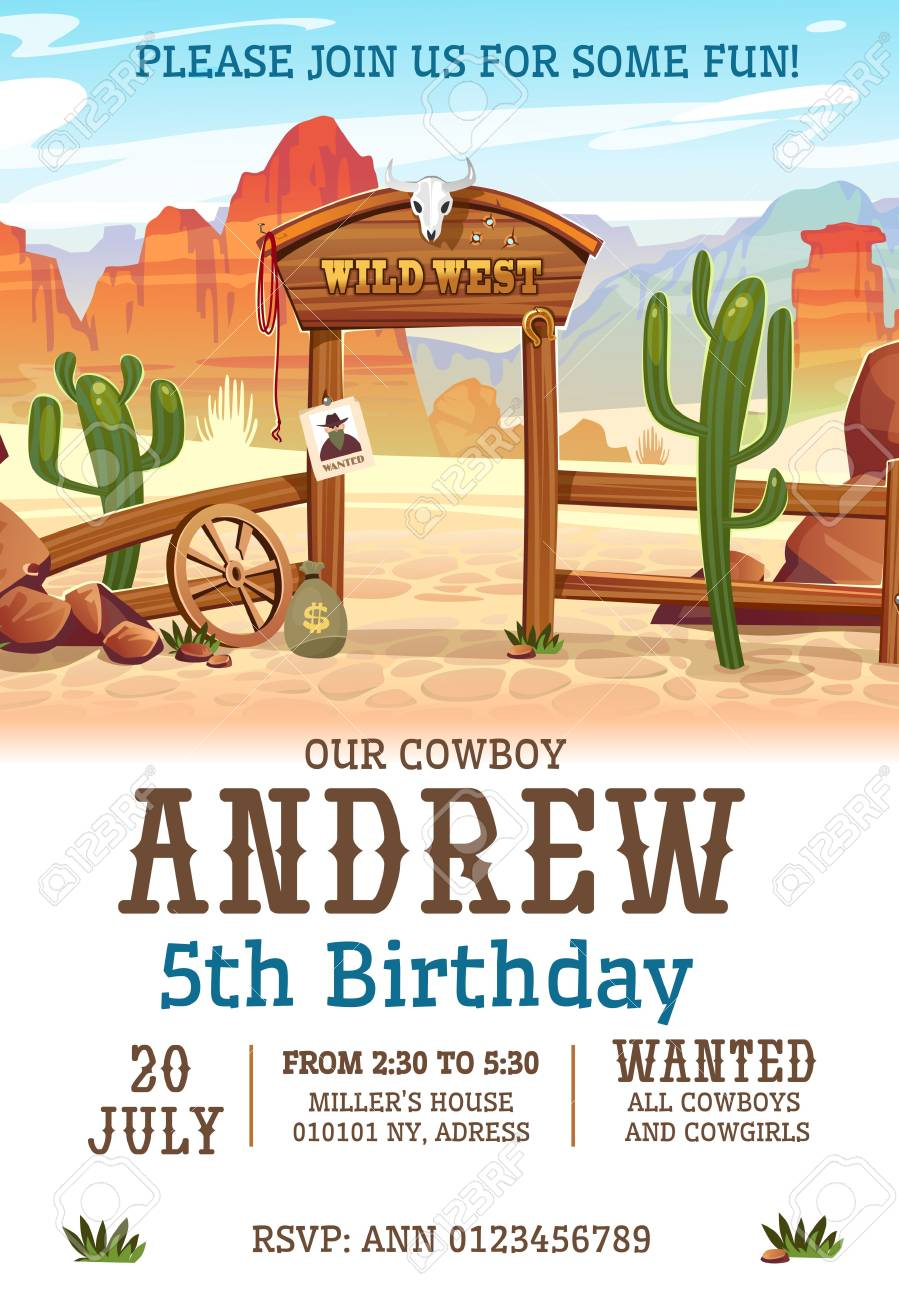 wild west birthday party invitation design template western