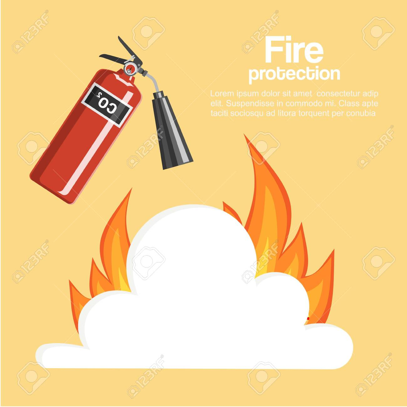 fire protection poster vector illustration cartoon fire extinguisher