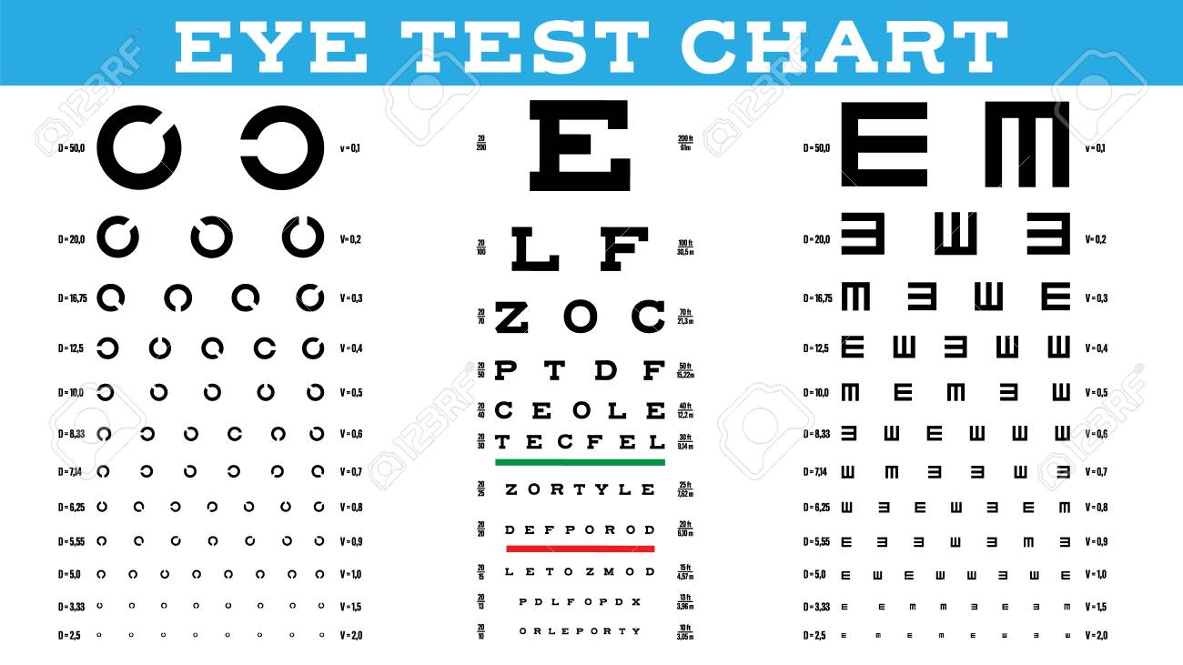 Eye Test Chart Set Vector Vision Test Optical Exam Healthy Royalty Free Cliparts Vectors And Stock Illustration Image 122872268