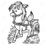 Cute Horse Character Carries A Cart Across The Field From Behind Royalty Free Cliparts Vectors And Stock Illustration Image 141459862