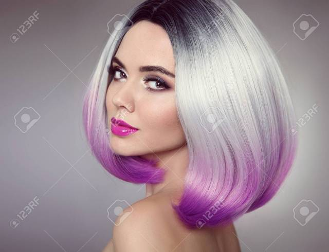 bob hairstyle. colored ombre hair extensions. beauty model girl..