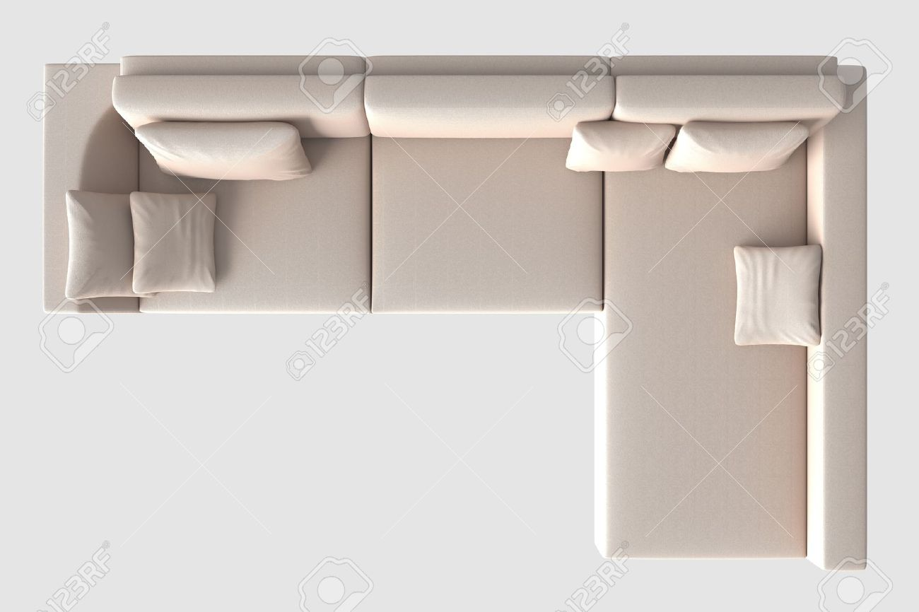 3d rendering sofa top view isolated on white