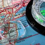 Usa Map With The City Of Philadelphia And A Compass With Magnifying Stock Photo Picture And Royalty Free Image Image 6292285