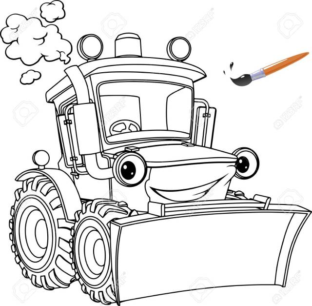 Funny Tractor, Bulldozer. Coloring Pages. Coloring Book Design For