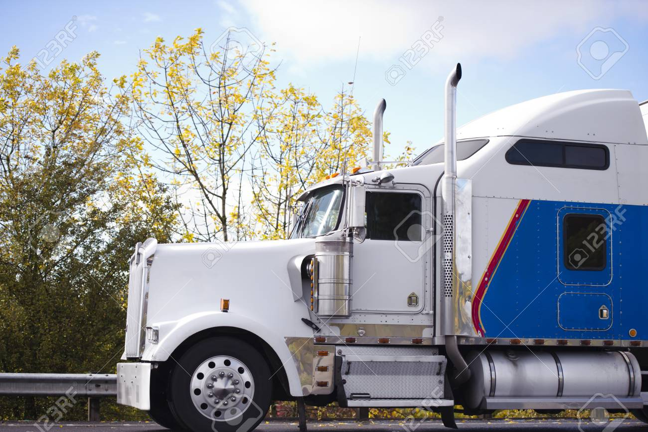 profile of american idol popular big rig white and blue classic
