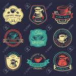 Vector Set Of Vintage Hipster Coffee Logos Modern Cafe Shop Royalty Free Cliparts Vectors And Stock Illustration Image 74379584