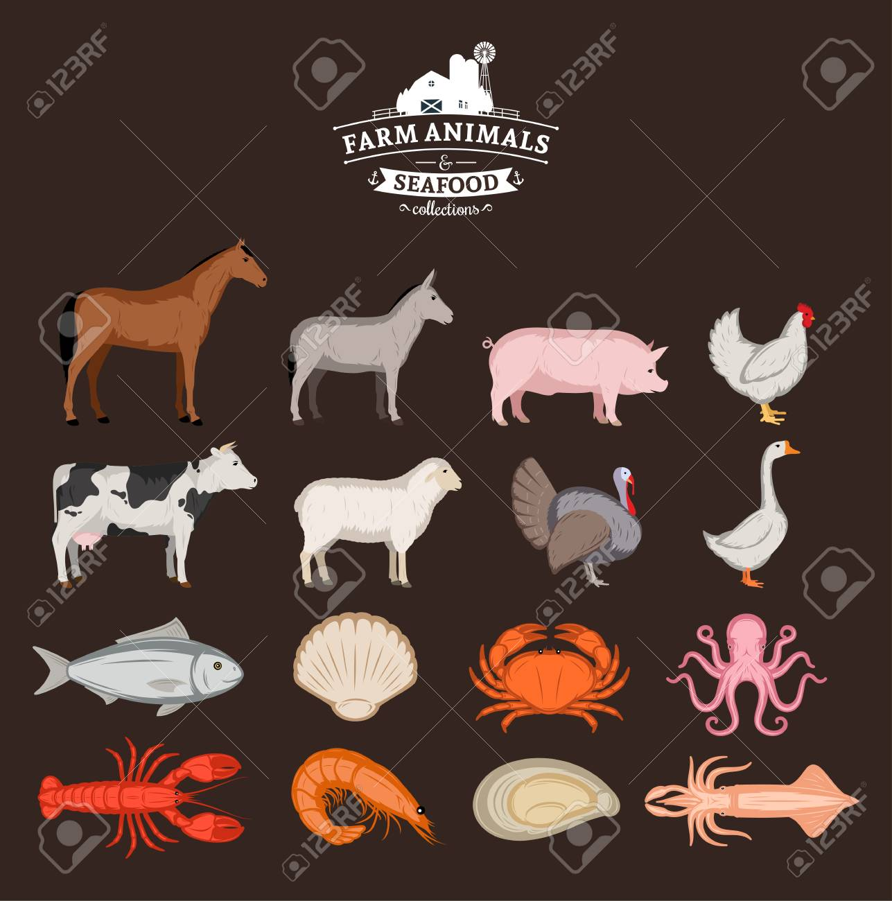 illustration of farm animals poster with livestock poultry and