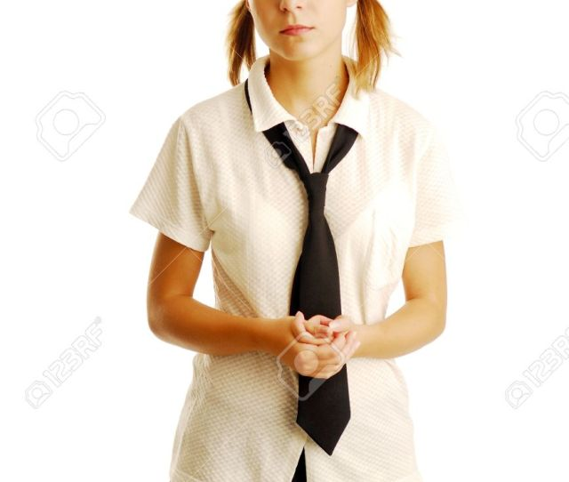 A Pretty Young Blonde School Girl Stock Photo