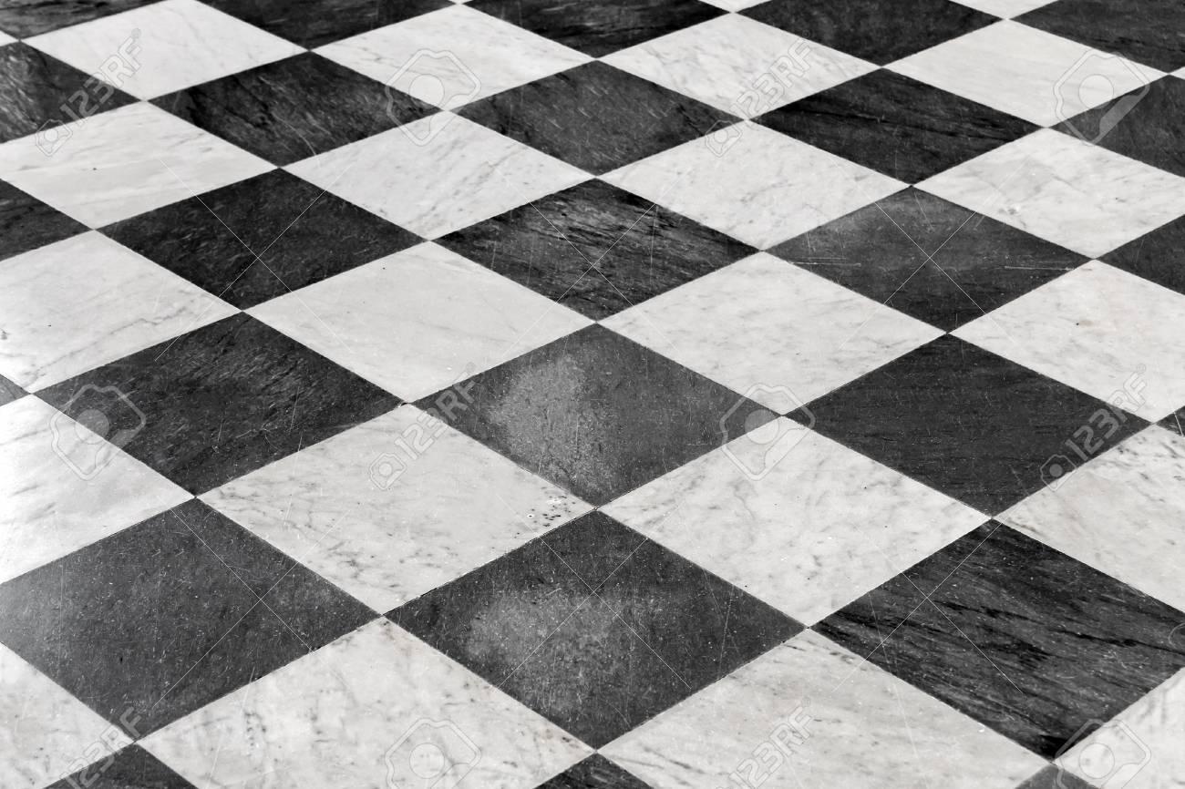 black and white checkered floor tiles background