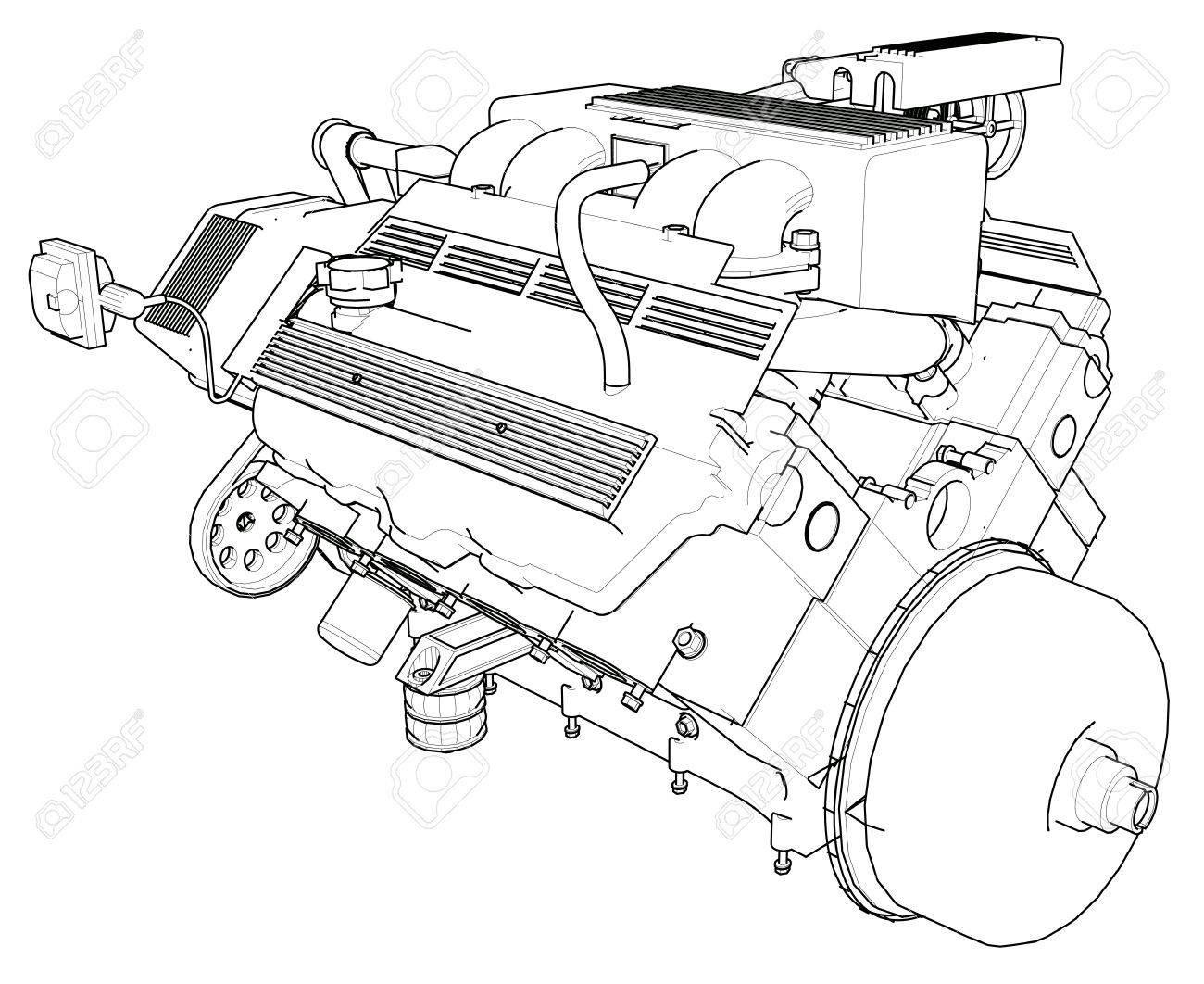 Charming car engine illustration contemporary electrical circuit