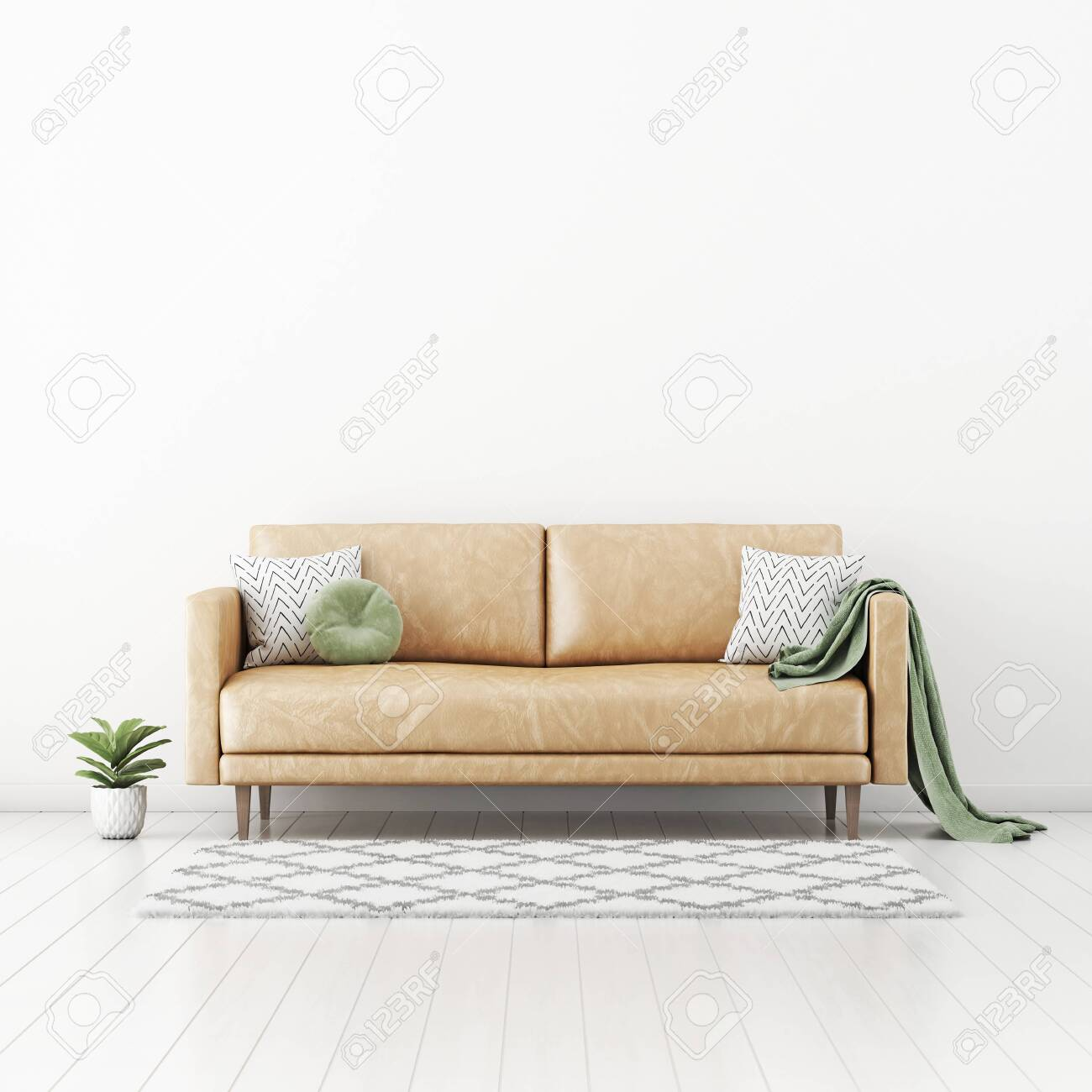 living room interior wall mockup with tan brown leather sofa round green pillow and plaid plant in pot and rug on empty white wall background 3d