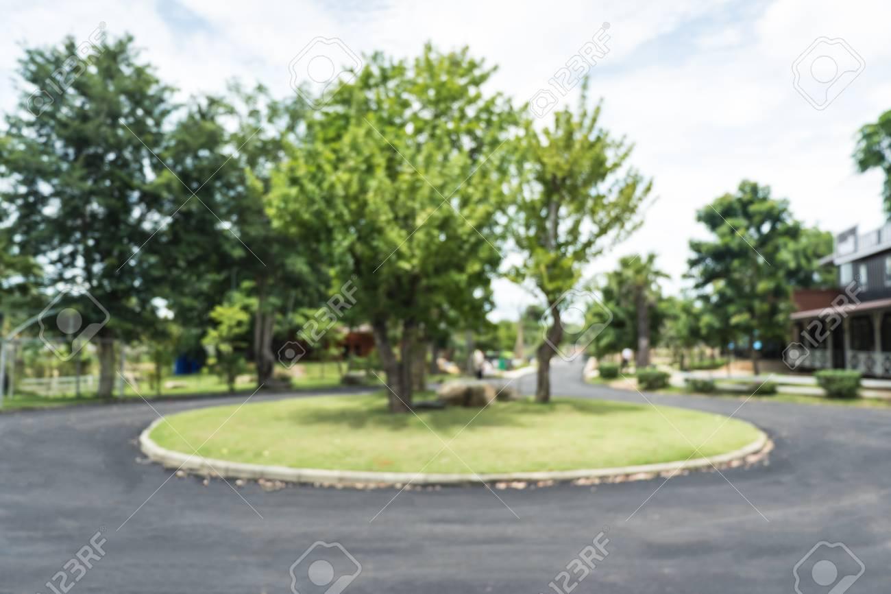 route asphaltee noire floue avec arbre vert a rond point