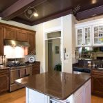 Beautiful Dark Wood And Granite Kitchen With Island Stock Photo Picture And Royalty Free Image Image 2256192
