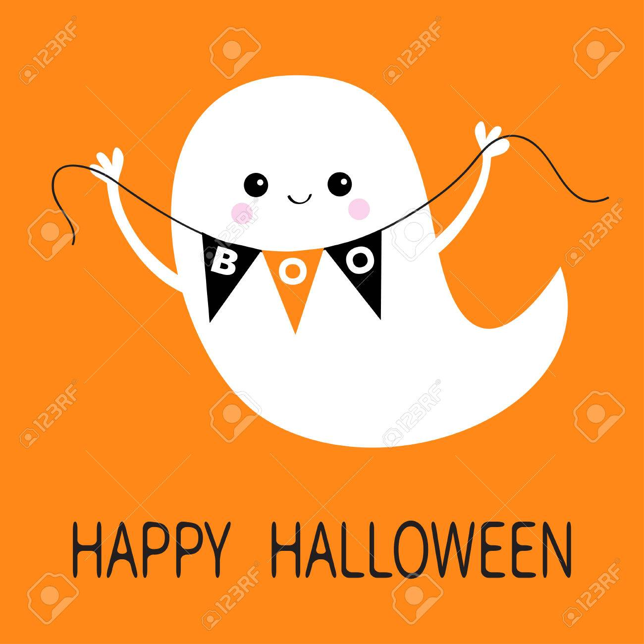 Flying Ghost Spirit Holding Bunting Flag Boo Happy Halloween Royalty Free Cliparts Vectors And Stock Illustration Image 85569071