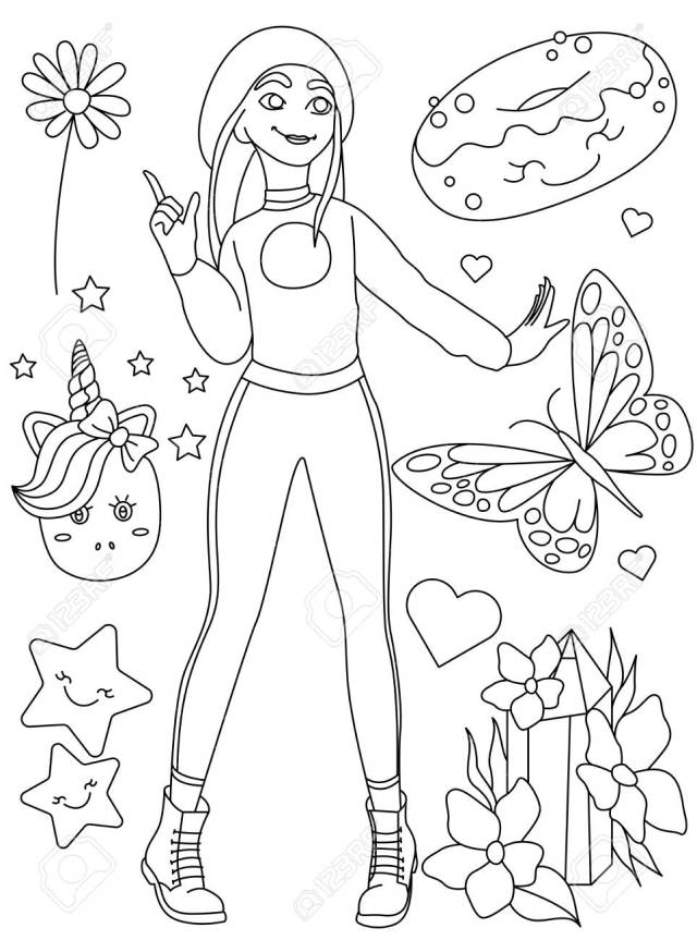 Coloring Book Page. Doodle Outline Vector Illustration Of Fashion