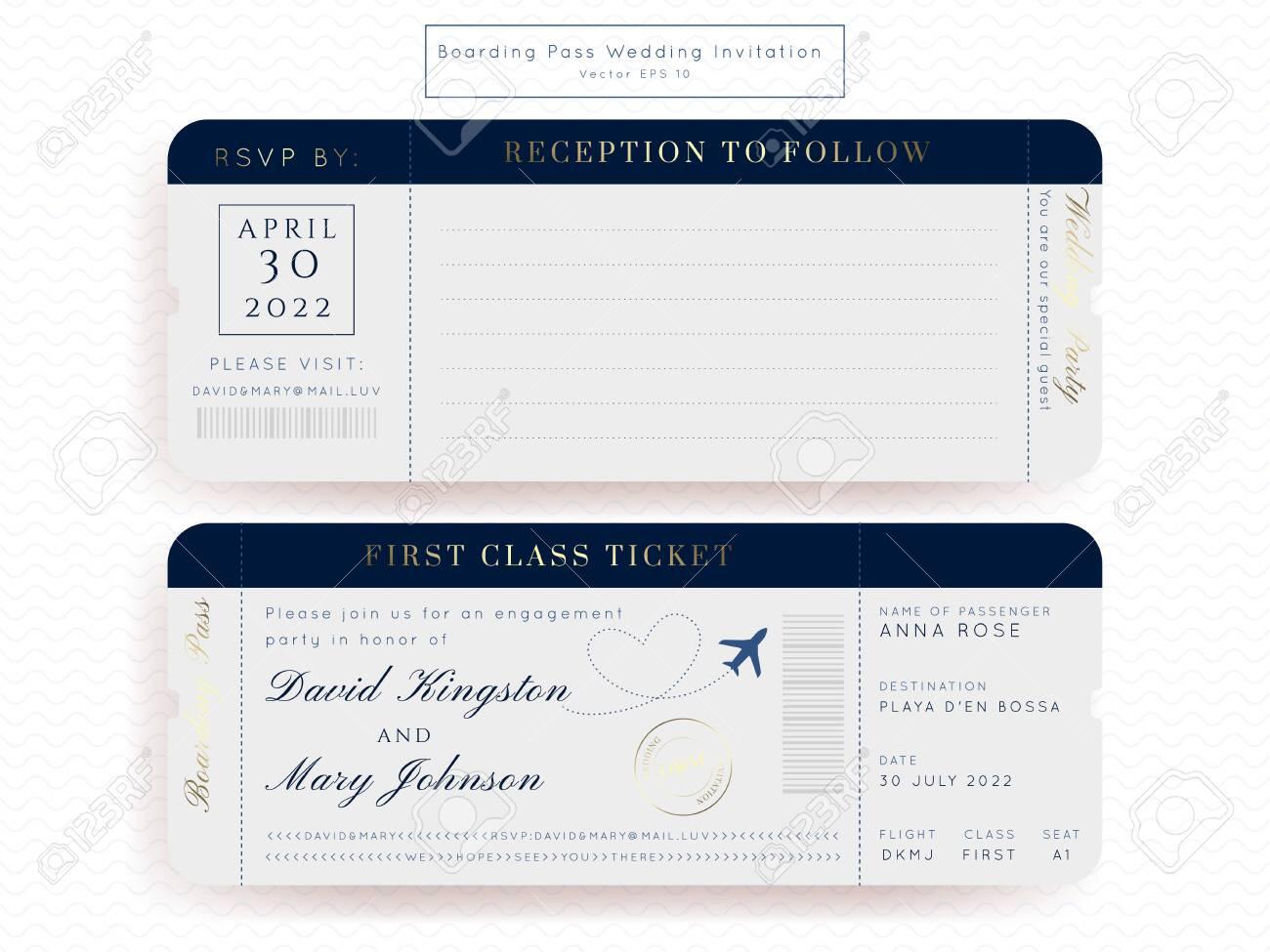 destination wedding classic blue passport invitation vector set boarding