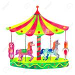 Bright Carousel With Horses Watercolor Illustration Isolated Stock Photo Picture And Royalty Free Image Image 141928750