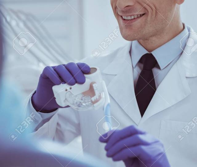Positive Gay Male Dentist Holding Dentures Model While Grinning Stock Photo