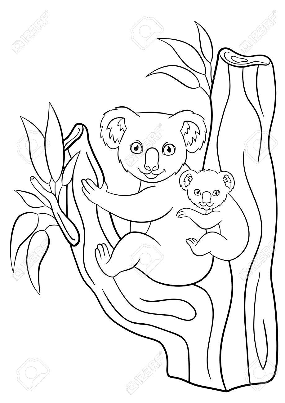 Coloring Pages Mother Koala With Her Little Cute Baby On Her
