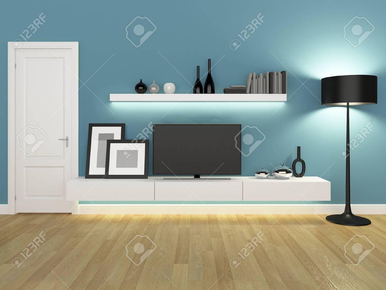salon bleu avec meuble tv et bibliotheque rendu