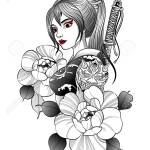 A Geisha Samurai With A Katana Behind Her Stands Among The Flowers Royalty Free Cliparts Vectors And Stock Illustration Image 148807720
