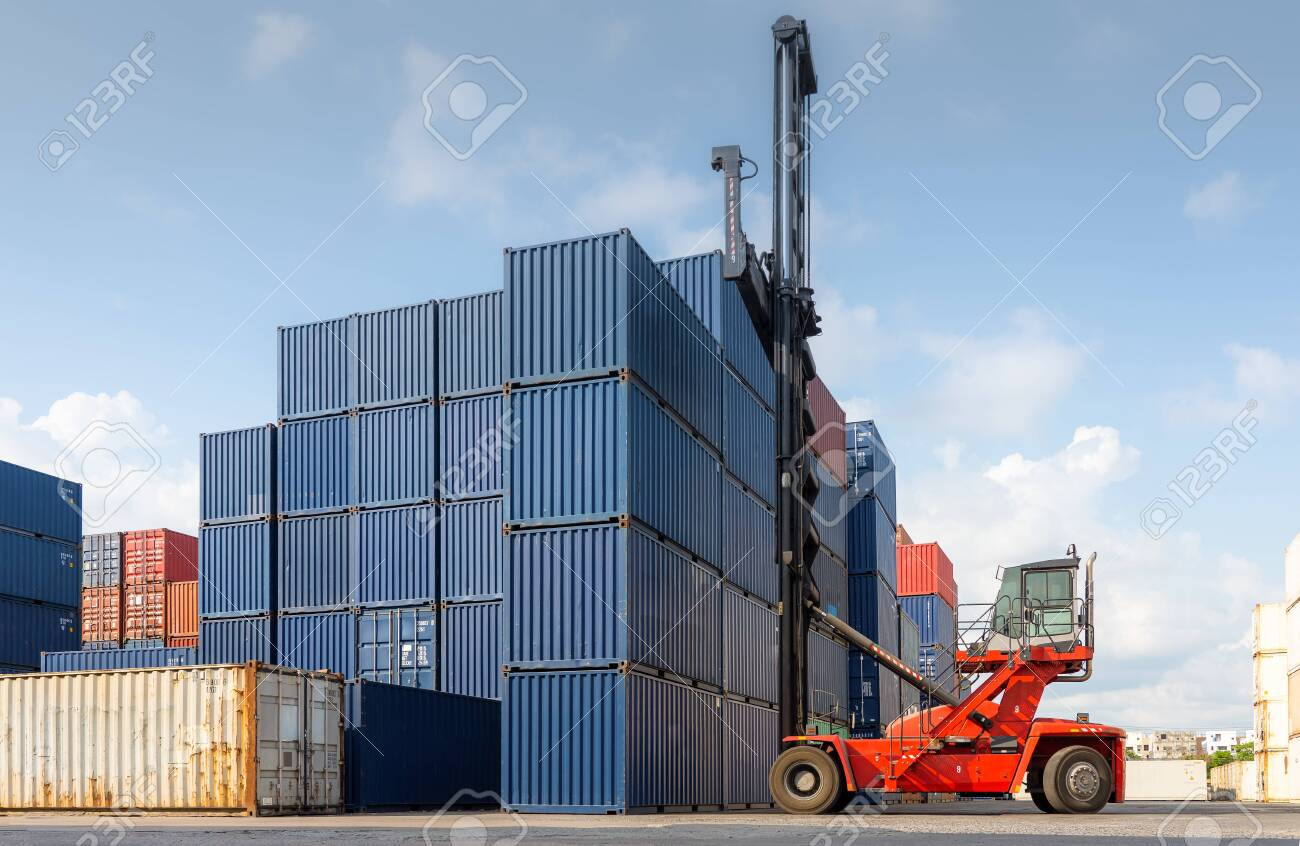 folk lift car working in container yard for preparing imported stock photo picture and royalty free image image 150075314