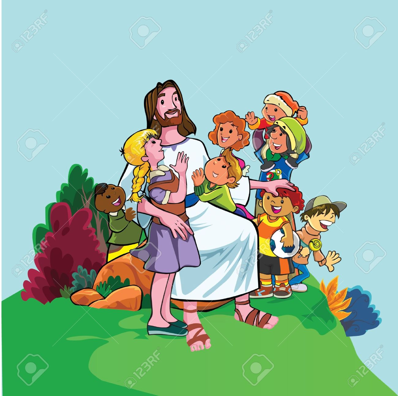 The Merciful Jesus With Children Royalty Free Cliparts Vectors And Stock Illustration Image 18868060