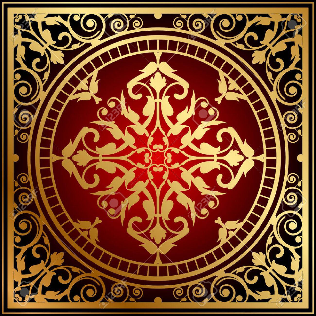 Vector Illustration Of Oriental Red Gold Rug