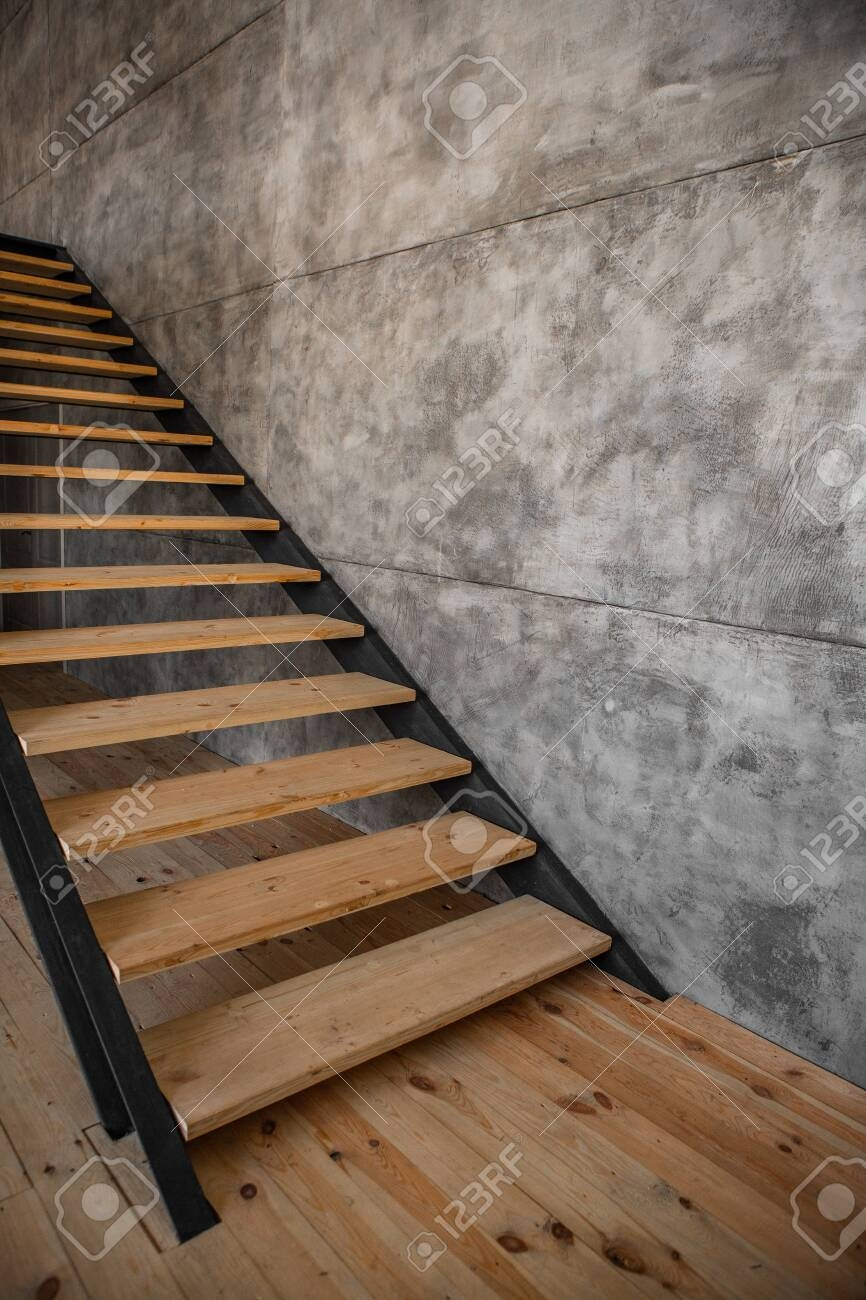 Interior Design In Loft Style Metal And Wood Staircase And Sofa   Steel And Wood Staircase   Steel Cable   Construction   Beautiful   New Model   Detail