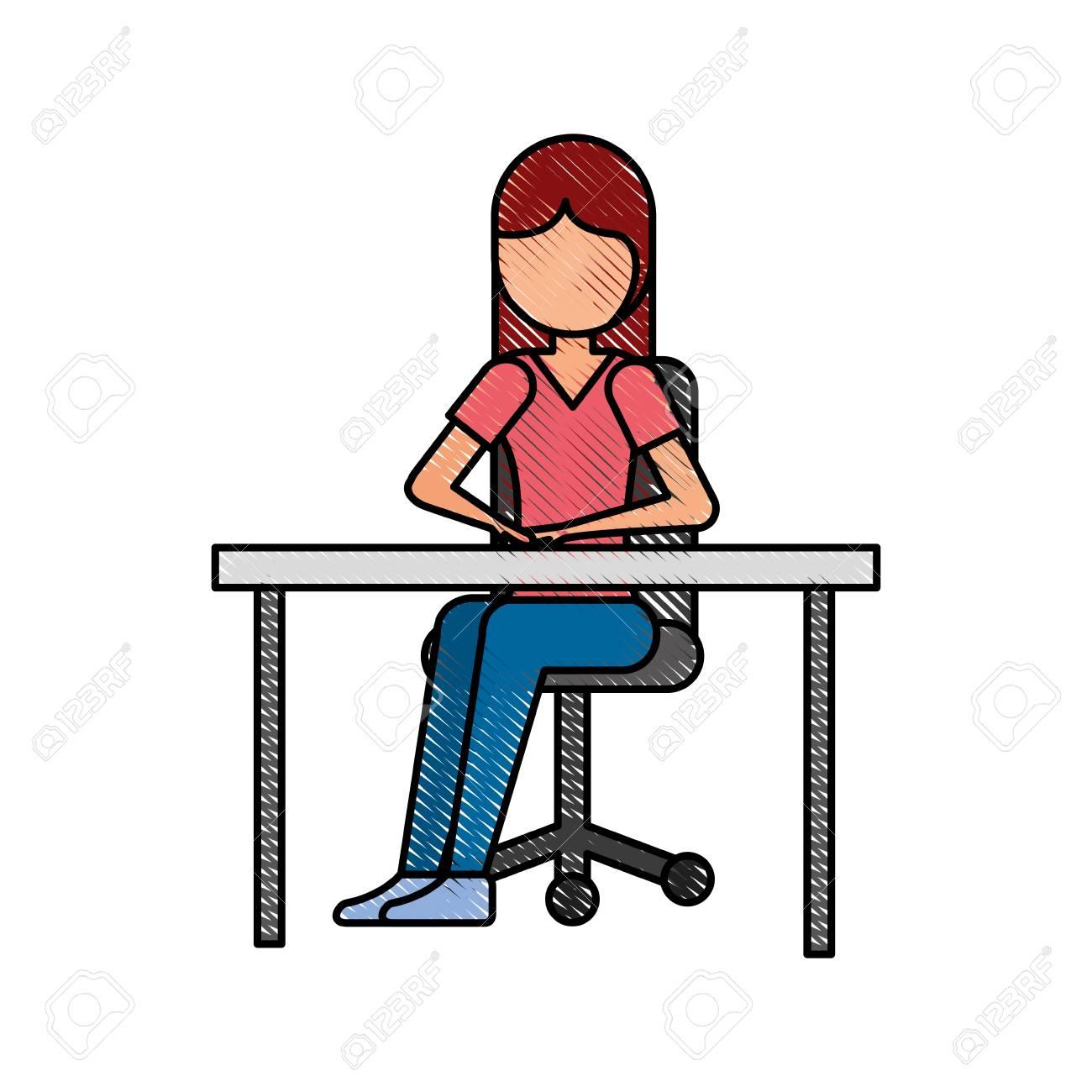 une fille de dessin anime assis sur une chaise avec illustration vectorielle de bureau