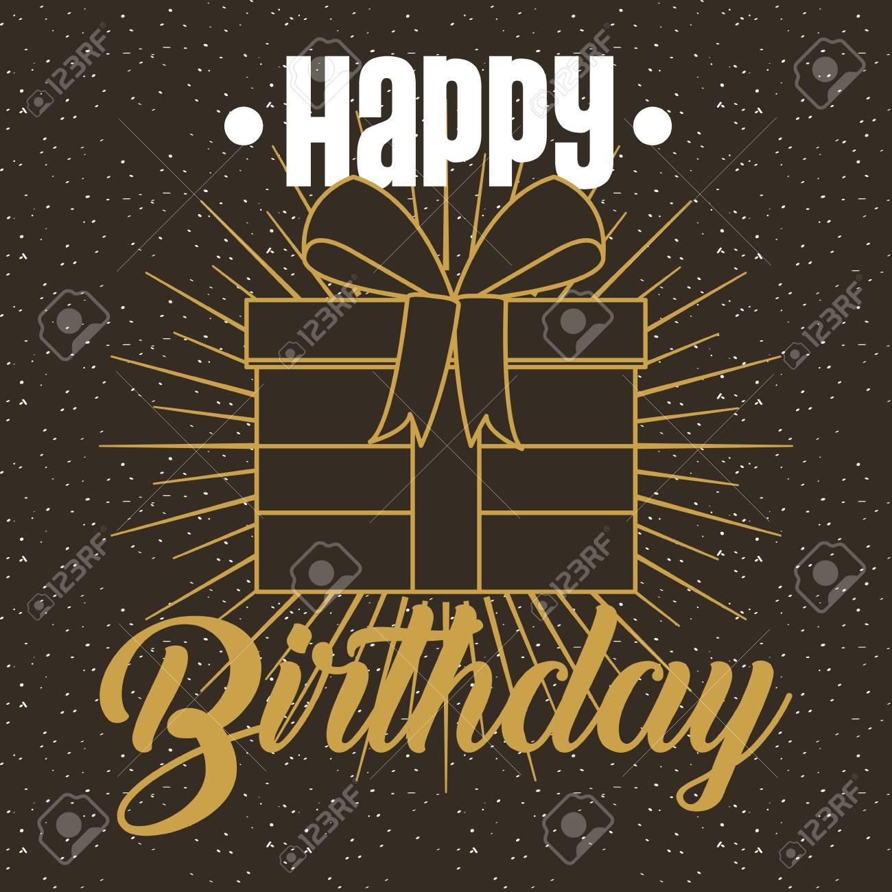 happy birthday invitation card gold gift box dark background