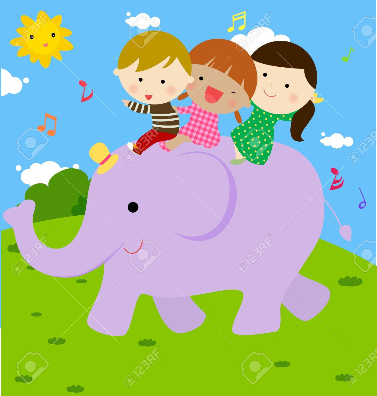 Kids And Elephant Royalty Free Cliparts Vectors And Stock Illustration Image 15821770