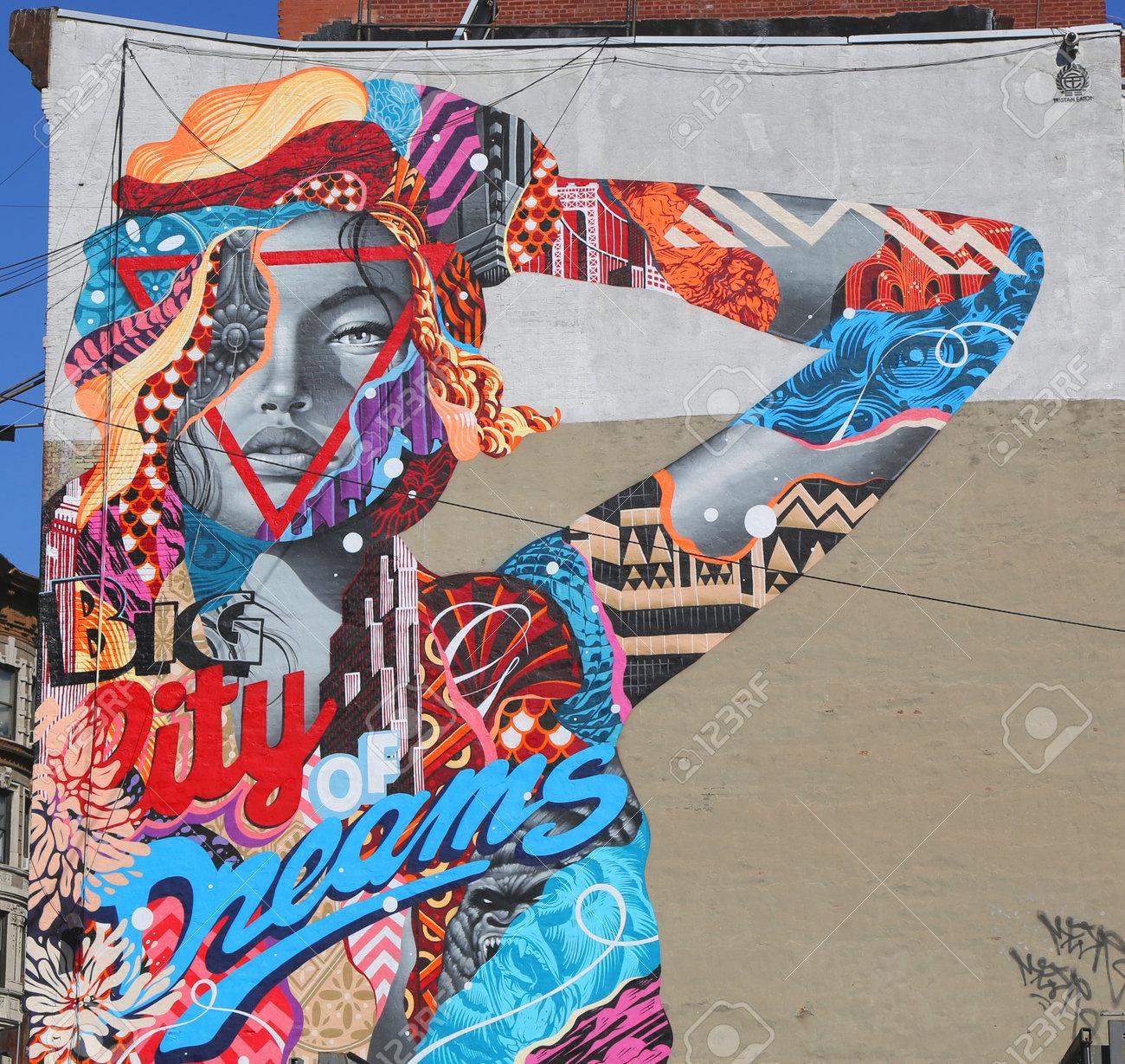 Después de ese tiempo, necesitas una licencia de manejar válida del nys. New York May 14 2015 Mural Art City Of Dreams By Tristan Eaton In Little Italy Stock Photo Picture And Royalty Free Image Image 39885904