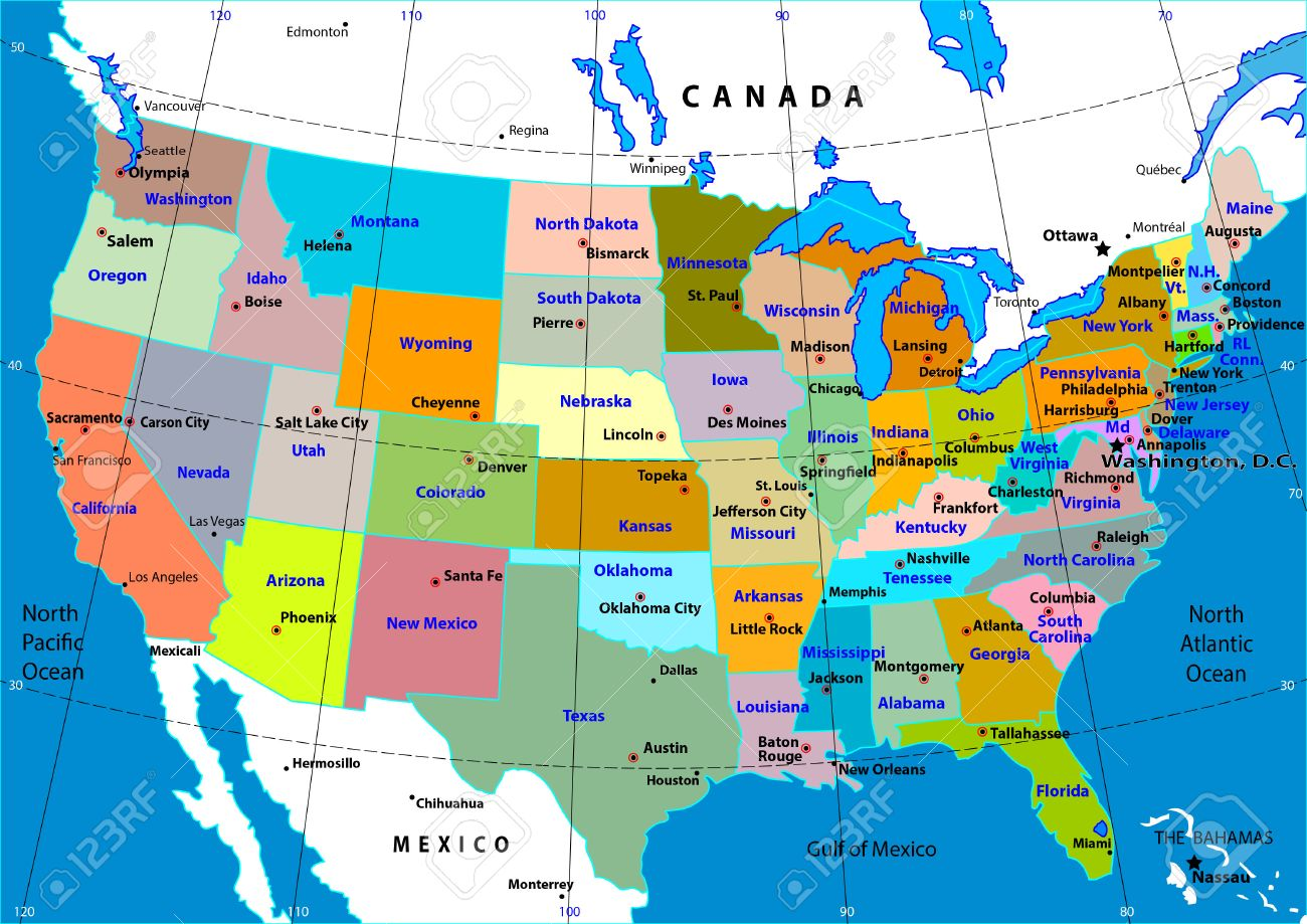 Colorful Usa Map With States And Capital Cities Royalty Free Cliparts Vectors And Stock Illustration Image 17626692
