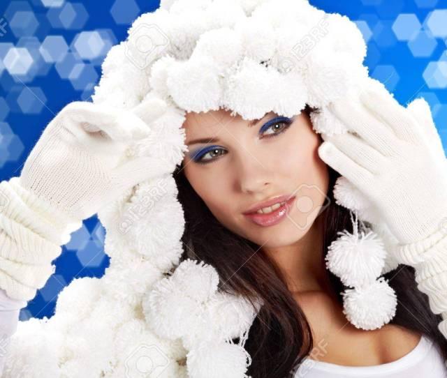 Portrait Of A Winter Woman Pom Pon Hat Stock Photo 7762587
