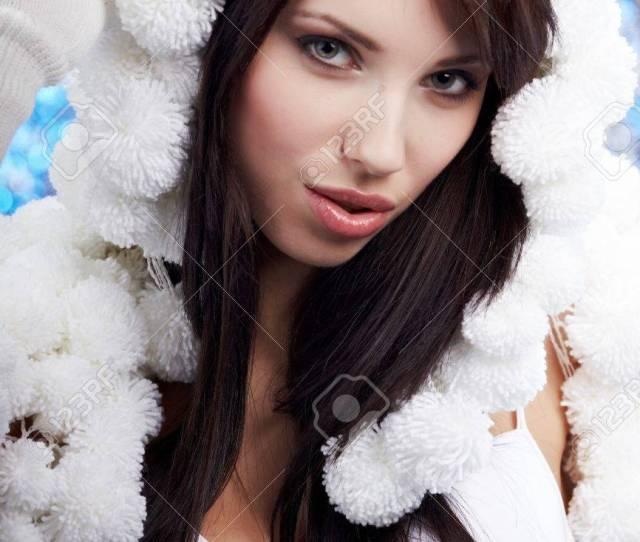 Portrait Of A Winter Woman Pom Pon Hat Stock Photo 10445721