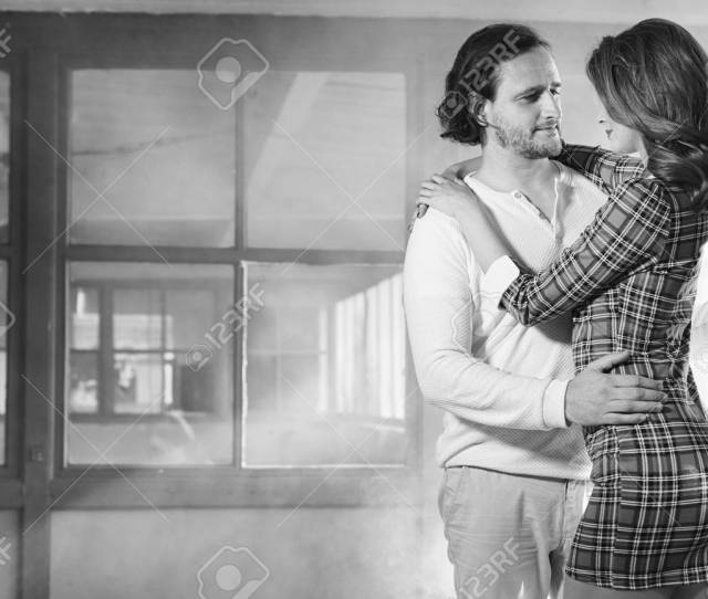 Passionate Couple Foreplay At Night Black And White Stock Photo