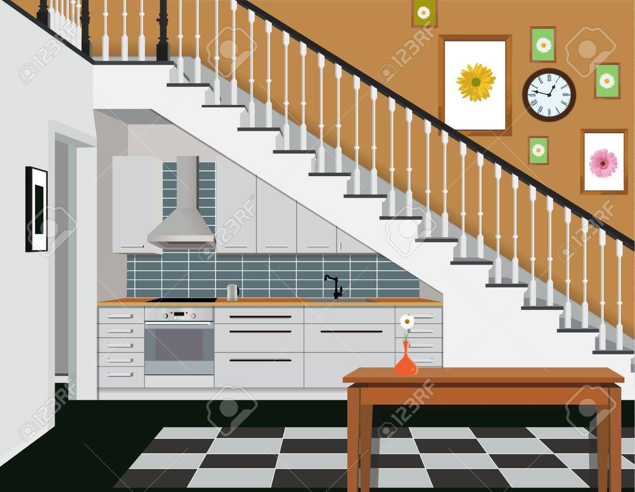 Interior Of The Kitchen Under The Stairs With Furniture Design | Kitchen Under Stairs Design | Stair Case | Wet Bar | Basement Stairs | Living Room | Basement Kitchenette