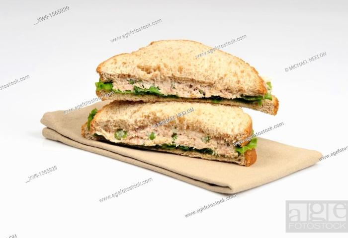 Tuna Sandwich With Lettuce Made With Wholemeal Bread Cut In Half And