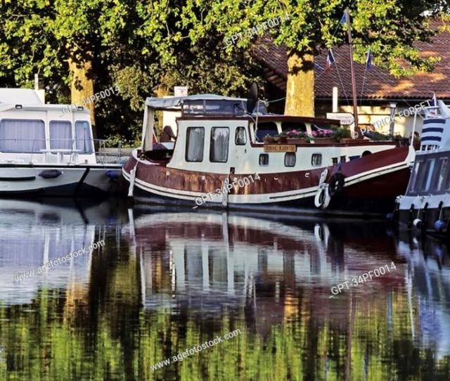 Stock Photo Canal Du Midi Cruise Village Of Poilhes Boat At The